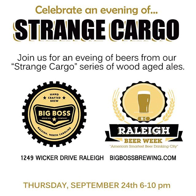This Thursday, enjoy selections from our #StrangeCargo wood and foeder series beers in one place.  Raleigh Beer week glass available on a first come, first serve basis! Tonight's selections will include: The Scarab aged in red wine barrels, Bourbon Barrel aged Night Knight, Saints & Sinners sour, Bourbon Barrel aged Tavern Ale,Prometheus Unbound wine bbl age dark ale and many more.  Strange Cargo series bottles available for retail sale as well.  Raleigh Beer Week shuttle available at Raleigh Times and returning to downtown to Busy Bee http://bit.ly/1ie1JyQ #ncbeer #rbw15 #raleigh