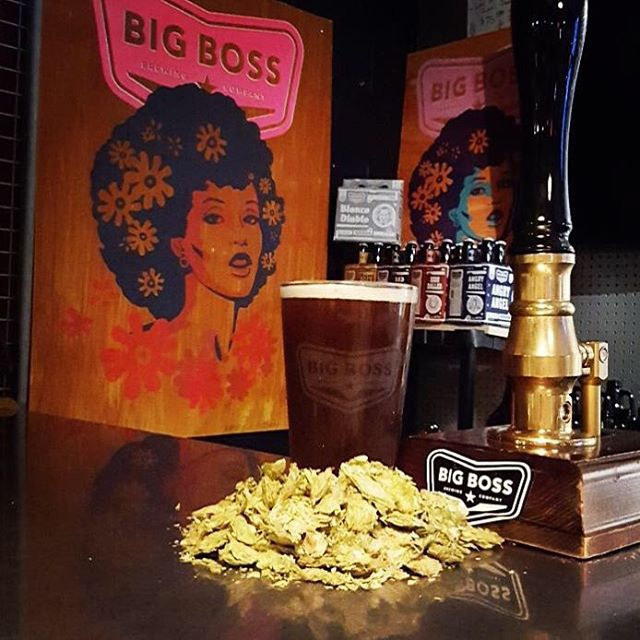The jams are getting funky in the #BigBossTaproom this afternoon so it only makes sense that we would feature a #BadPenny cask with chinook hops on the engine.  Little bit of fun info- the foxy woman you see as Bad Penny is actually the artist's wife- she really does exist!  #ncbeer #tbt #hoppybrown