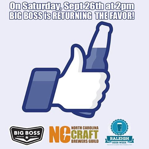 "Raleigh Beer Week event RETURNINGTHE FAVOR!September 26th 2pm – 5pm Big Boss Brewing 1249 Wicker Dr RaleighWe are going to say ""thank you"" to North Carolina brewery tap rooms who have poured Big Boss with a tap takeover of NC Beers!  We assembled some friends from the Mountains, the Triad and the Triangle.  The NC brewers guild will be on hand offering Pint Hound member packages!  GIBBS HUNDRED (Greensboro) Imperial Berliner WeissbierALTAMONT (Asheville) Black IPASTEEL STRING (Carrboro) Little Sadie FarmhouseMYSTERY (Hillsborough) Grapefruit Pale AleCRANK ARM (Raleigh) Wet RoadFULLSTEAM (Durham) Fearrington ESB  #rbw15 #ncbeer"