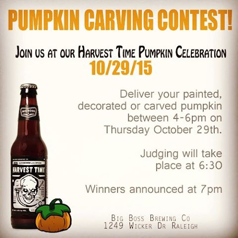 Show us your Pumpkins!  Bring your decorated, carved, painted pumpkin to our Harvest Time Pumpkin celebration on 10/29.  Prizes from Big Boss and other local businesses will be awarded for first second and third place!  Also that evening enjoy food trucks, scary movies and we will officially debut Bourbon Barrel aged Harvest Time at the brewery!  #ncbeer #harvesttime #raleigh #pumpkinbeer #strangecargo