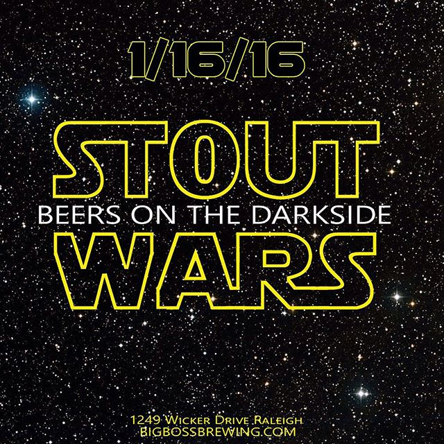 STOUT WARS!  Join us for a day when darkness descends on the galaxy and our only hope is a cargo hold of force sensitive winter ales!  Some you know and love and others we will pour for the first time!  This will take place in a brewery not far, far away from you on January 16th 2016 begging at 2pm.  More details here and on our social media pages:  Facebook / Twitter and each week here in our newsletter as the day approaches.  #starwars #theforceawakens #craftbeer #ncbeer #coffeestout #StrangeCargo