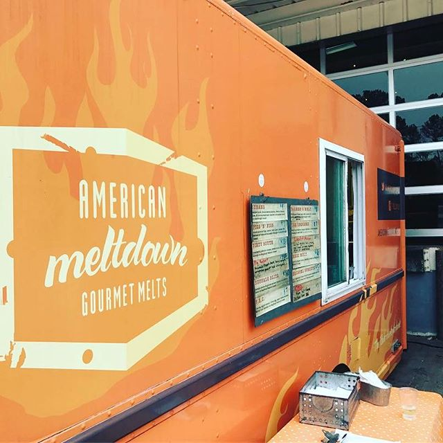 @americanmeltdown just pulled into the loading dock and they have the perfect Tour Day pairing. #raleigh #foodtruck
