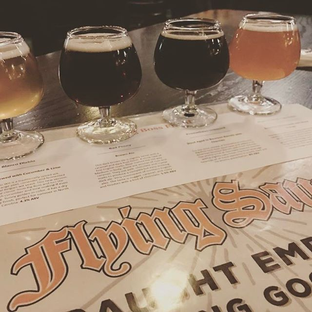 It's time for #flightnight @flyingsaucerraleigh! Four beers for you to enjoy, including one of the few kegs of Prometheus Unbound. #raleigh #ncbeer #beerknurd #drinklocal