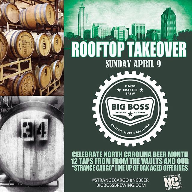 We return to @ralbeergarden with a Rooftop takeover on the 3rd floor! See you this Sunday for 12 taps of Big Boss goodness for #ncbeermonth! #woodandbeer #strangecargo #raleigh #raleighskyline #bigbossbeer #bloodorange #nitrostout
