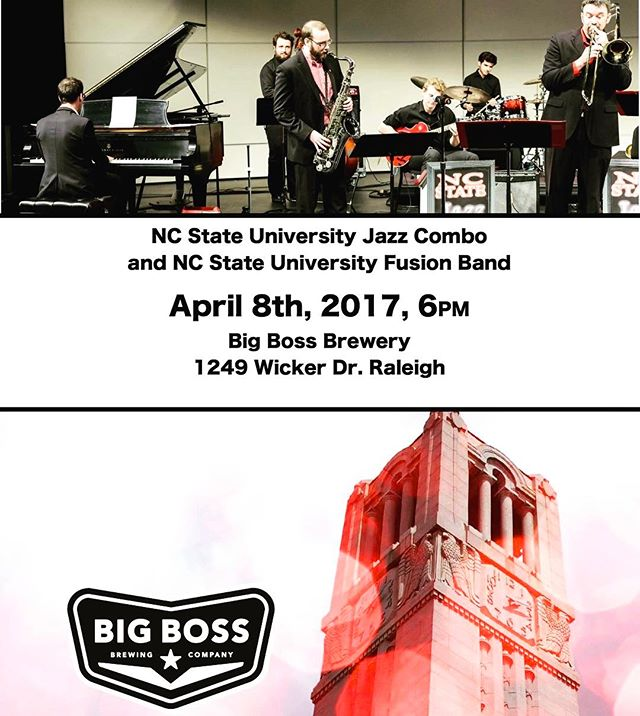 Come out to the brewery tonight at 6pm for the @ncstate Fusion Group and Combo. #ncstate #ncstatemusic #ncbeer #jazz