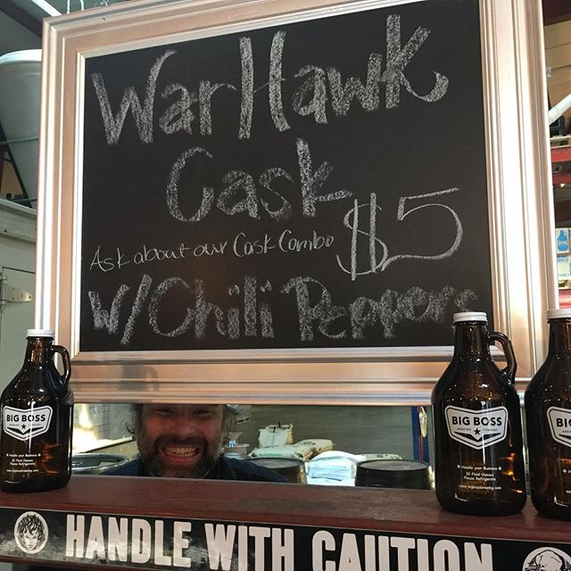Taproom open on this beautiful, sunny Thursday afternoon with WeeseBot behind the bar serving WarHawk APA #caskale!