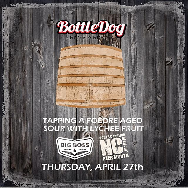 We're still going strong for #ncbeermonth with this exclusive tapping at @bottledogcary! See you there this Thursday! #poutine #ncbeer #woodandbeer #strangecargo