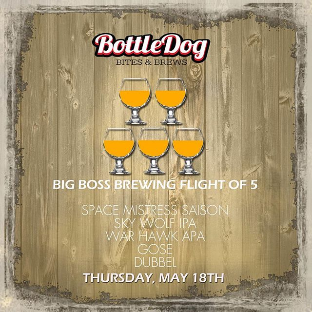 On 5/18 the good folks at @bottledogcary will host a flight of 5 Big Boss Beers including 4 new brews: #saison #gose #ipa #strangecargo