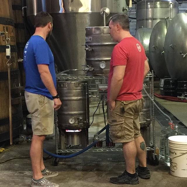 The guys are in the pilot system today brewing brewing a series of staff beers for July release! #pilotsystem #ncbeer