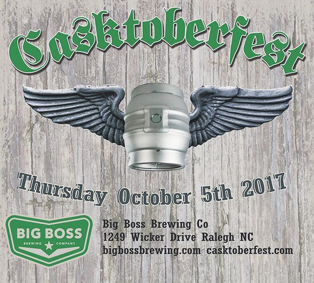 Announcing Thursday October 5th for the 7th annual #ncbeer Casktoberfest celebration.  Join us for cask ale in the beer garden as we celebrate old world traditions in new ways.  Follow updates and RSVP at https://www.facebook.com/bigbossbrewing/posts/10154805488077879 #ncbeer #cask #firkin #raleigh