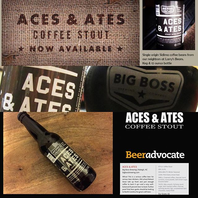 Coffee month concludes Thursday w a special edition pour of Aces & Ates w Ethiopian Sidamo fresh ground & cold press coffee additions! #ncbeer @big_boss_taproom #coffeebeer #coldpressed #stout