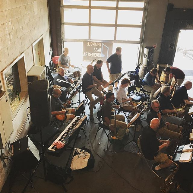 The Triangle Jazz Orchestra is set up and ready to go. Come out to the taproom at 6pm to hear this incredible group. #ncbeer #raleigh #jazz