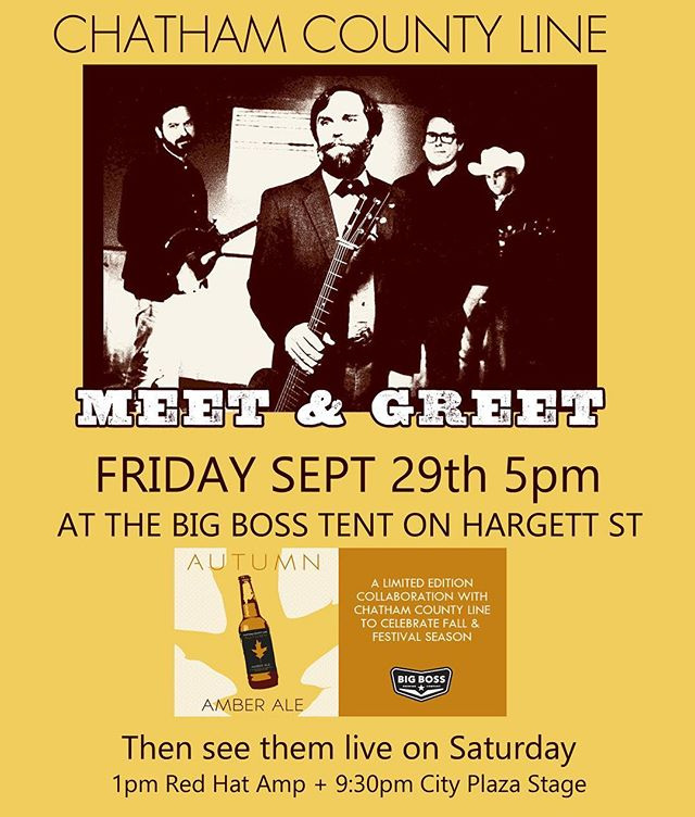 Headed to #wob17 today? @chathamcoline will be meeting up w fans at our tent on #hargettstreet in #raleigh to debut thier collaboration beer: Autumn Amber Ale!  #ncbeer #ambarale #ibma #banjostand