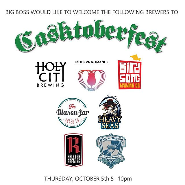 Tomorrow we celebrate and welcome some great beers to our brewery! Keep following #Casktoberfest and check out Casktoberfest.com for updates! #ncbeer #craftbeer #caskale #raleigh