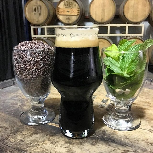 Here you're a advance warning for this this weeks @big_boss_taproom pour of the week: Peppermint Mocha Aces & Ates. We added cacao nibs and fresh mint leaves to our coffee stout for an extra special holiday treat. #ncbeer #coffeestout @larryscoffee @stoutwhisperer