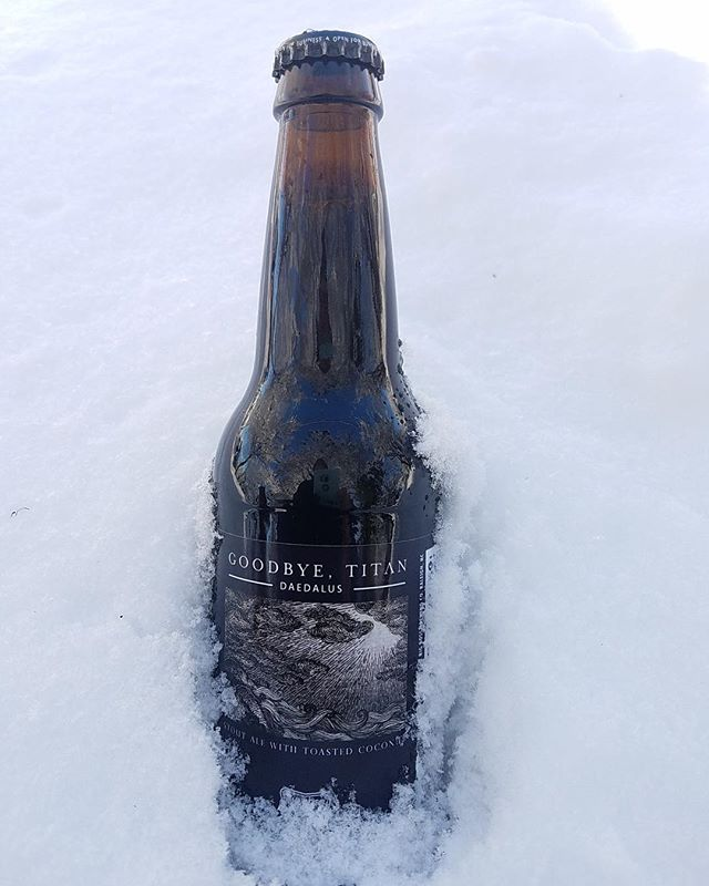 #latergram from snow filled days of nearly a week ago! This is Daedalus Toasted Coconut Stout another limited run collaboration with a local band with Raleigh's @goodbyetitanofficial.  Named after the band's album of the same name the bass player is also our cellerman here at the brewery! #postrock #ncbeer #heavymusic #coconutstout