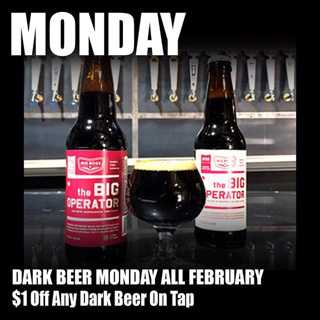 """The rotating Monday theme is """"dark beers."""" @big_boss_taproom opens at 3 with plenty of rich, roasty options ranging from sessionable nitro Stout to Imperial Stout! #darkbeer #craftbeer #ncbeer #mondaybeer"""
