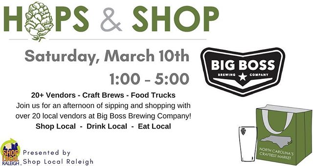 Sip and Shop this Saturday with local vendors!  Find details on our Facebook events page.  We open at noon and vendors will be open by 1pm. #ncbeer #shoplocal #raleigh