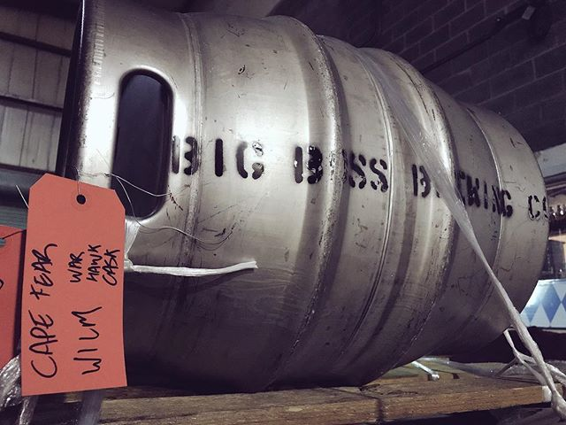 Thanks @capefearwineandbeer for keeping #caskale alive and well in North Carolina!  This #firkin of WarHawk APA is on the way to you! #ncbeet #ilmbeer #craftbeer #americanpaleale